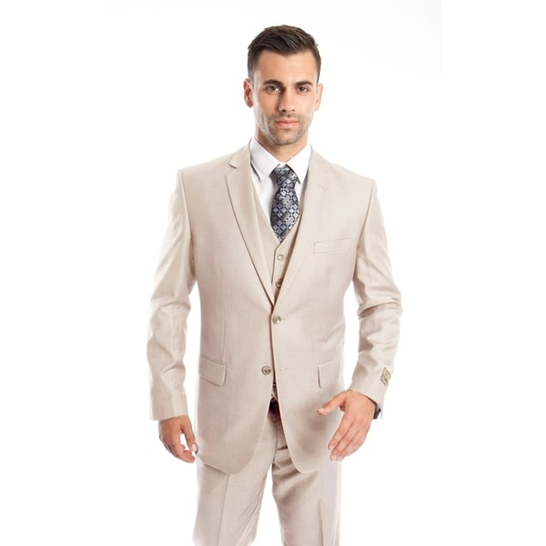 Mens Suit Two Button Solid Notch Lapel Suit Set