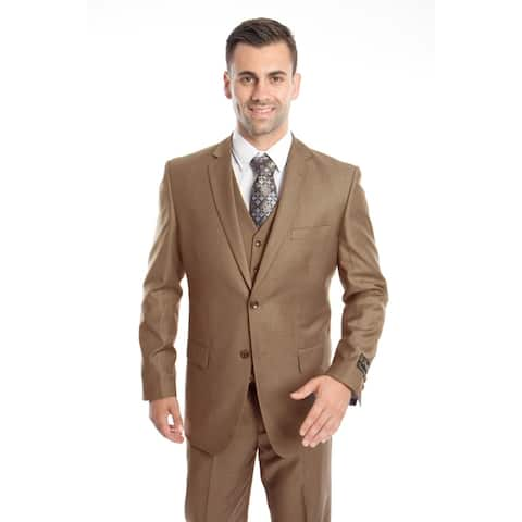 Men's Suit 3 Pieces Modern Fit Solid Two Button Suit