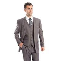 6204ff93648 Shop Men s Suit Modern Fit 3 Pieces Solid Two Button Suit - On Sale ...