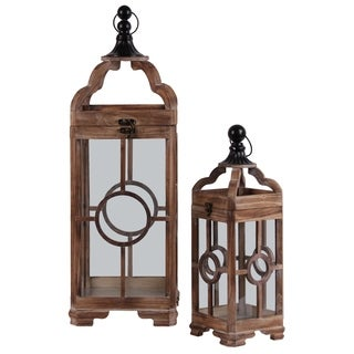 UTC54202: Wood Square Lantern with Metal Round Finial Top, Ring Handle and Circle in the Center Design Body Set of Two Brown
