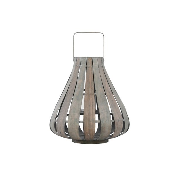 UTC41078: Bamboo Round Lantern with Handle, Flared Bottom and Hurricane Glass Candle Holder SM Natural Wood Finish Beige