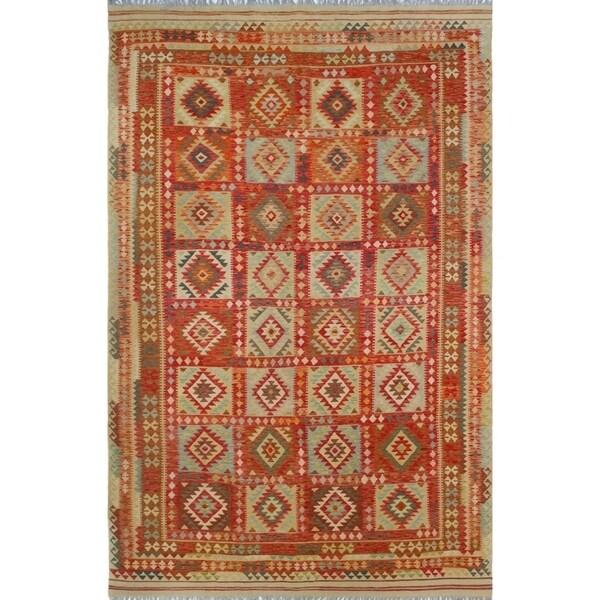 Noori Rug Sangat Kilim Amorica Gold/Red Rug - 8'6 x 13'2