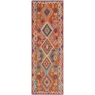 Sangat Kilim Hrychleah Orange/Red Rug (2'8 x 8'3)
