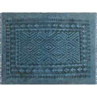 Overdyed Kilim Salton Blue/Grey Rug (4'11 x 6'6)