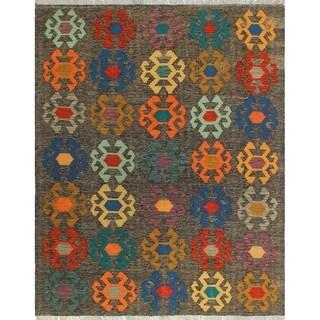 Noori Rug Sangat Kilim Corby Brown/Orange Rug - 5'0 x 6'6