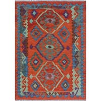 Sangat Kilim Salford Orange/Blue Rug (3'6 x 5'1)