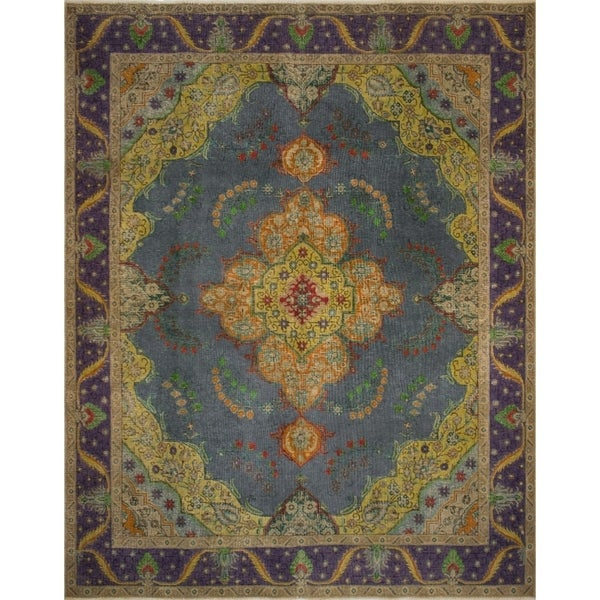 "Noori Rug Vintage Distressed Allard Grey-Blue/Purple Rug - 9'4"" x 11'11"""