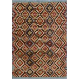 Sangat Kilim Cadee Brown/Green Rug (4'2 x 6'0)
