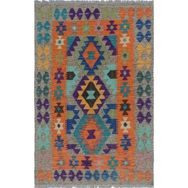 Sangat Kilim Valiant Brown/Orange Rug (3'3 x 4'11)