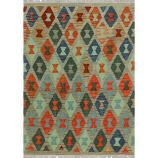 Noori Rug Sangat Kilim Aethelmaere Green/Beige Rug - 3'6 x 5'0