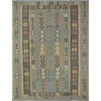 Hand Knotted Wool Green Traditional Geometric Ziegler Rug