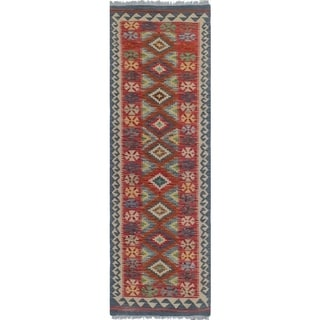 Sangat Kilim Blandford Red/Grey Rug (1'11 x 6'4)