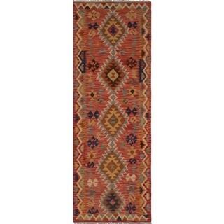 Sangat Kilim Colby Red/Rust Rug (2'9 x 8'0)