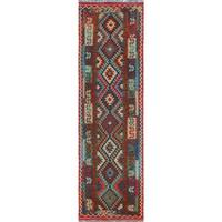 Noori Rug Sangat Kilim Fayre Grey/Red Rug - 2'11 x 10'1