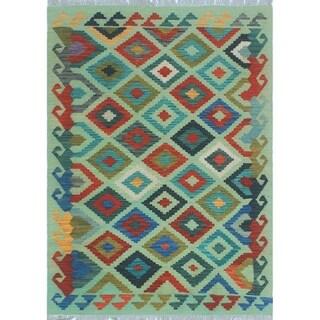 Noori Rug Sangat Kilim Baxter Green/Blue Rug - 3'6 x 4'10