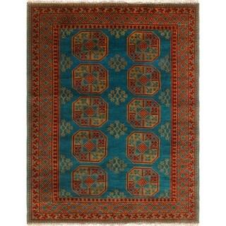 Noori Rug Balochi Blane Green-Blue/Red Rug - 4'10 x 6'4