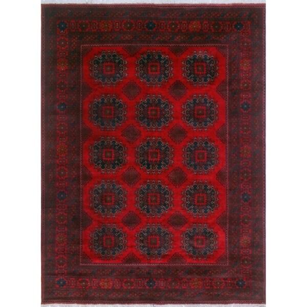 Khal Mohammadi Sage Red/Black Rug (6'9 x 9'6)