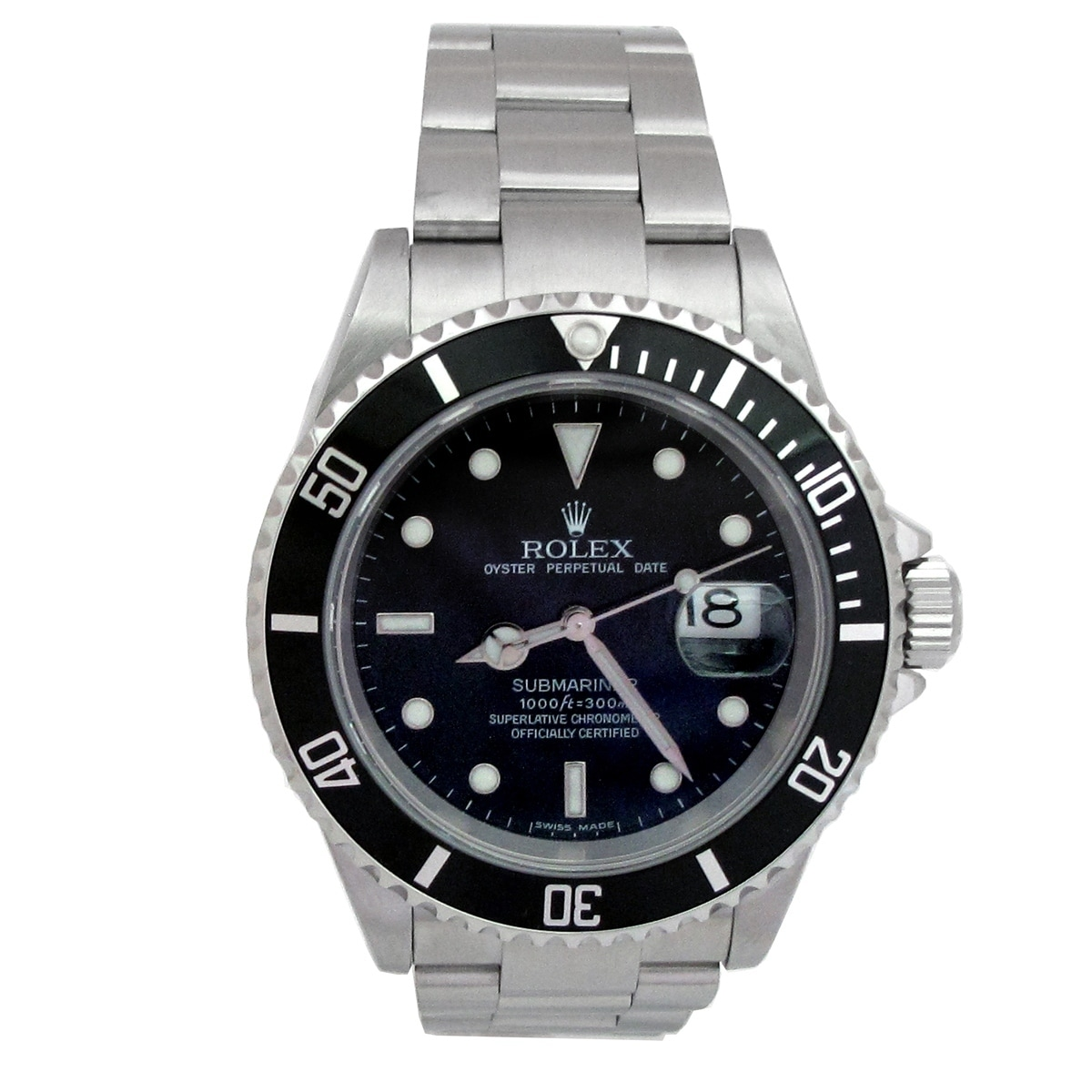 Used Pre-Owned Rolex Men's Submariner Stainless Steel Bla...
