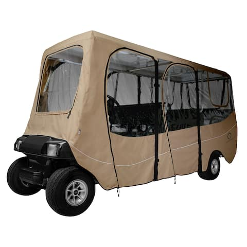 Classic Accessories Fairway 40-051-345801-00 Deluxe Golf Car Enclosure, Extra Long Roof, Khaki