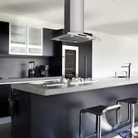 "AKDY RH0306 36"" Island Mount Stainless Steel Tempered Glass Kitchen Cooking Fan Range Hood"
