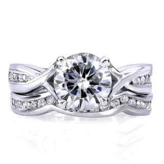 Annello by Kobelli 14k White Gold 1 1/2ct TGW Round Moissanite and Channel-set Diamond Trellis Bow Bridal Rings (FG/VS, GH/I)