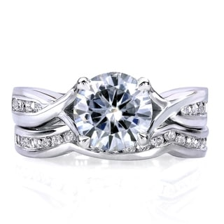 Link to Annello by Kobelli 14k White Gold 1 1/2ct TGW Round Moissanite and Channel-set Diamond Trellis Bow Bridal Rings (DEF/VS, GH/I) Similar Items in Rings