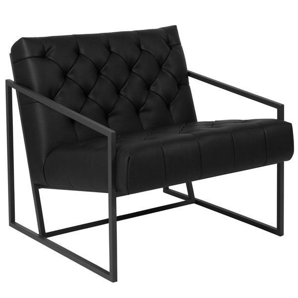 Oxford Black Leather Side Chair With Slanted Arms