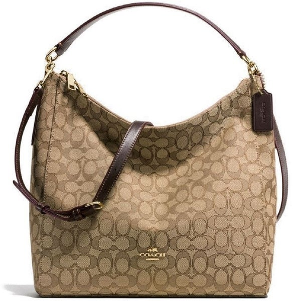 8566c6236a91e Shop Coach F58327 Celeste Hobo Crossbody Khaki Brown - On Sale - Free  Shipping Today - Overstock - 19971049