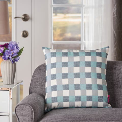 Italo Plaid Square Pillow by Christopher Knight Home