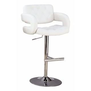 Modern Style Adjustable Height Bar Stool, White