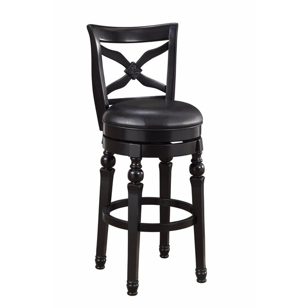 Swivel Bar Stool with Faux Leather Seat, Black