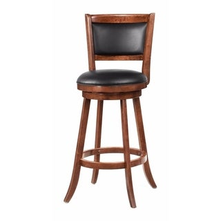 """Contemporary 29"""" Bar Stool with Upholstered Seat, Brown"""