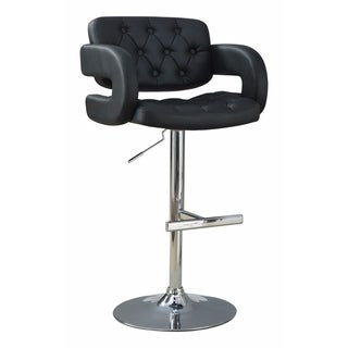 Contemporary Adjustable Height Barstool, Black