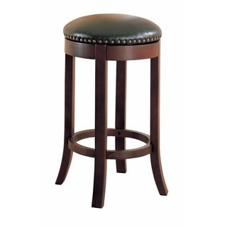 "Contemporary 29"" Swivel Bar Stool with Upholstered Seat, brown"