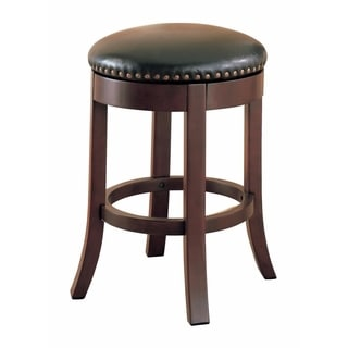 Round Wooden Counter Height Stool with Upholstered Seat, Brown