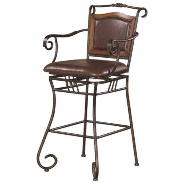 Black Metal Bar Stool With Brown Microfiber Seat By: Shop Wood Accented Metal Bar Stool With Upholstered Seat