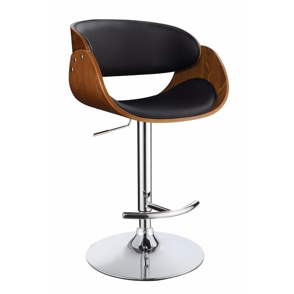 Shop Contemporary Style Adjustable Bar Stool Black And Brown Free