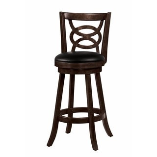 "29"" Swivel Bar Stool with Upholstered Seat, Black And Brown"