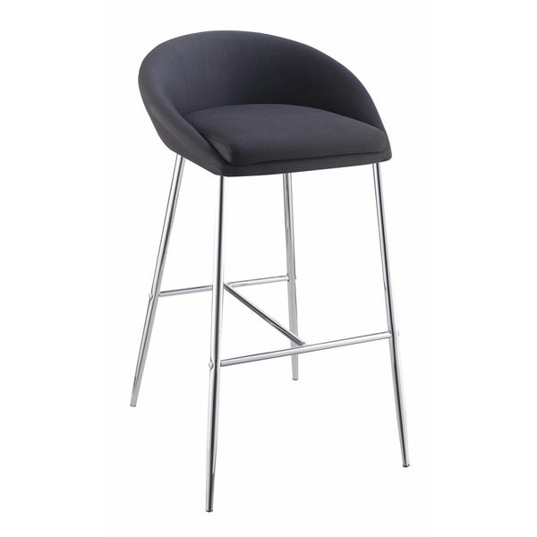 Captivating Bar Height Stool, Black And Silver, Set of 2