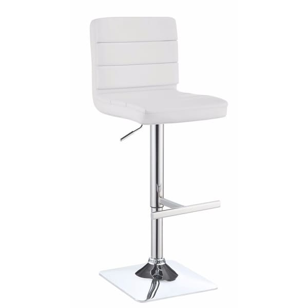 Casual Armless Adjustable Bar Height Stool, White, Set of 2