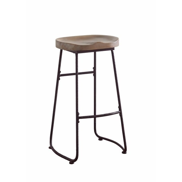 Antique Wood And Metal Bar Stool with Saddle Seat, Brown And Black
