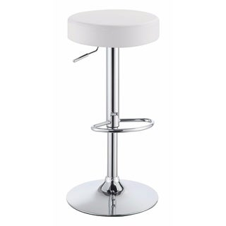 Classy Backless Adjustable Height Bar Stool, White