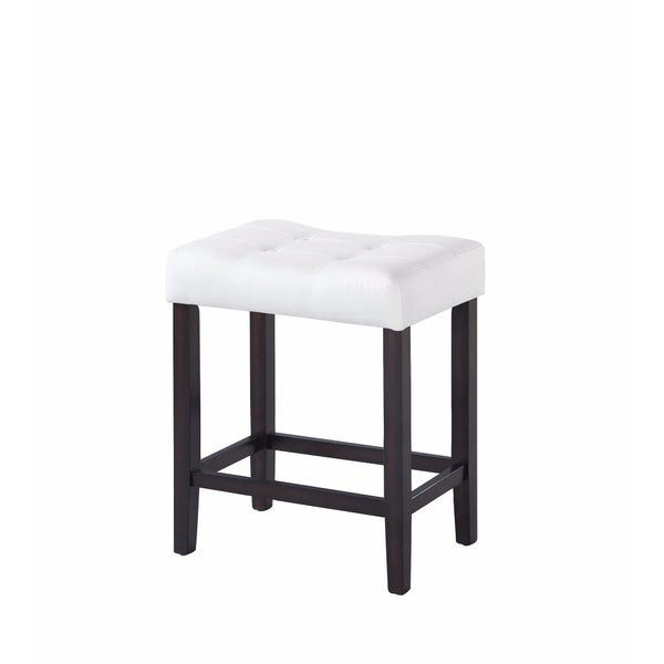 Backless Modern Counter Height Stool, White & Brown, Set of 2