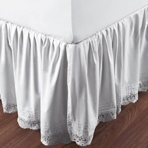 Gracewood Hollow Garcia Ruffled Bella Crochet Cotton Percale 18-inch Bedskirt
