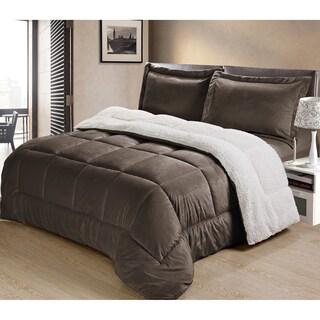 Porch & Den Belmont Shore Bennett Ultra Plush Faux Suede and Sherpa 3-piece Comforter Set (More options available)