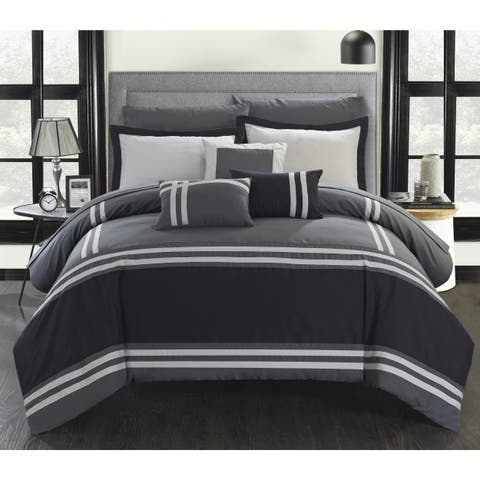 Porch & Den Giles Grey Stripe Border 10-piece Bed in a Bag