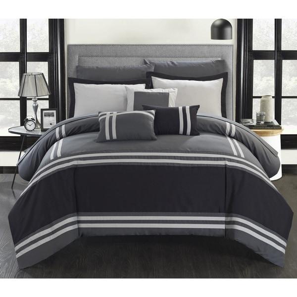 Porch & Den Giles Grey Stripe Border 10-piece Bed in a Bag