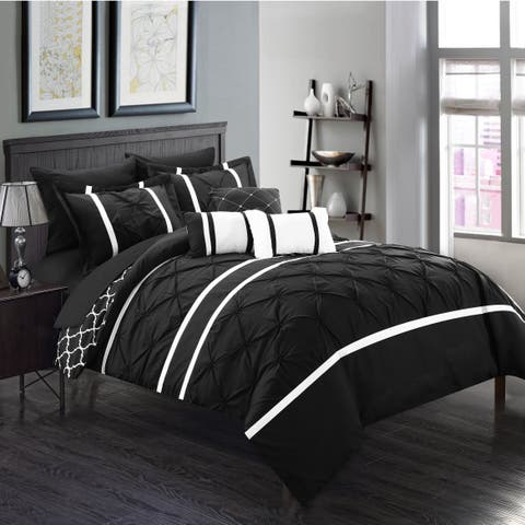 Silver Orchid Brady Black Pinch Pleated Reversible 10-piece Bed in a Bag with Sheet Set