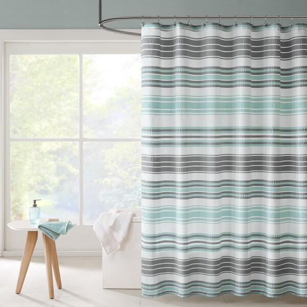 Carson Carrington Solleftea Puckering Yarn-dyed Stripe Shower Curtain