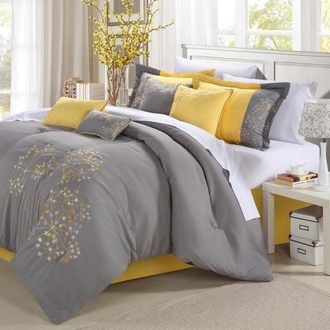 Porch & Den Phinney 12-piece Bed in a Bag Embroidered Comforter Set